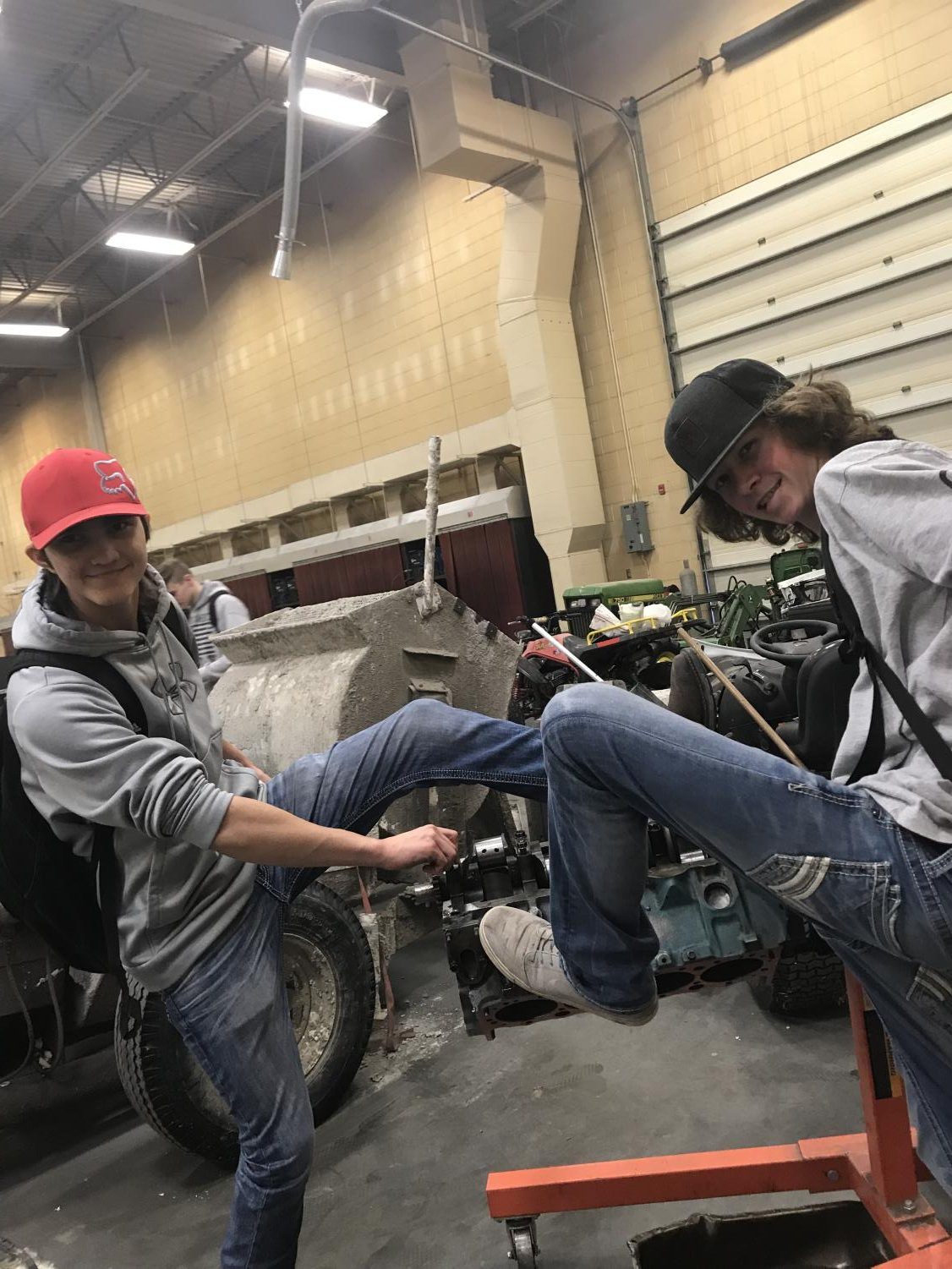 Even though you learn a lot of valuable life skills in Shop classes, Junior Drake Rainey and Sophomore Talon Hymas still have fun.