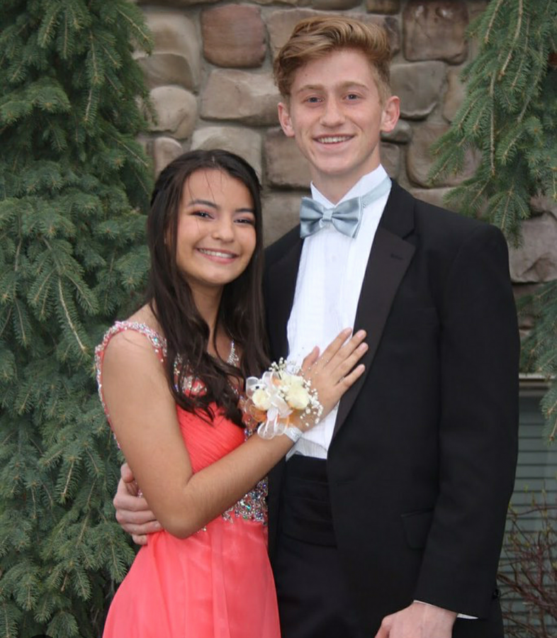Jessica+Appell+and+Luke+Cloward+smile+with+excitement+as+they+get+ready+to+head+to+prom+on+May+5%2C+2018.