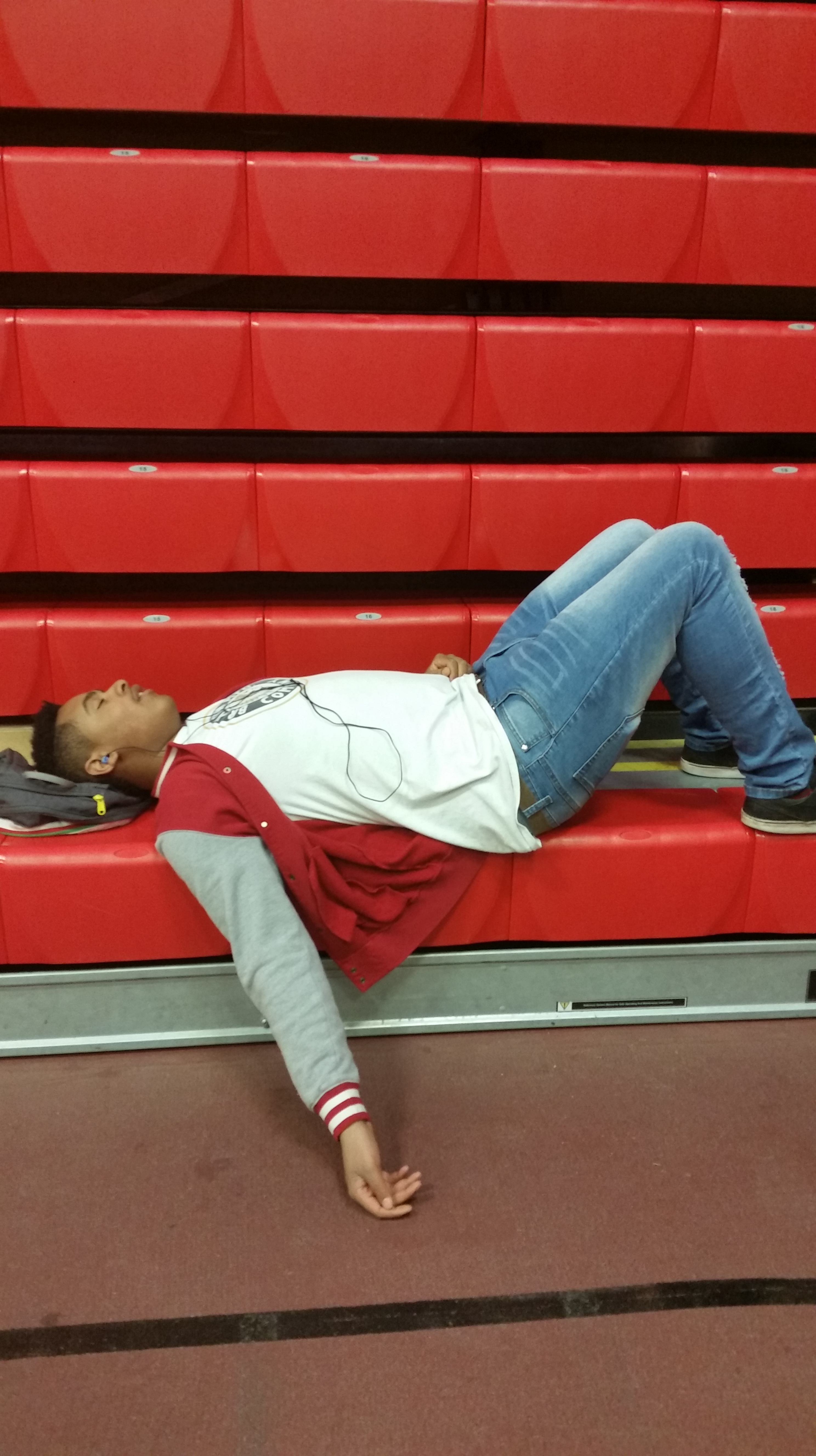 Photo by Kaden Severn Brian harris, suffering from senioritis, takes a nap.