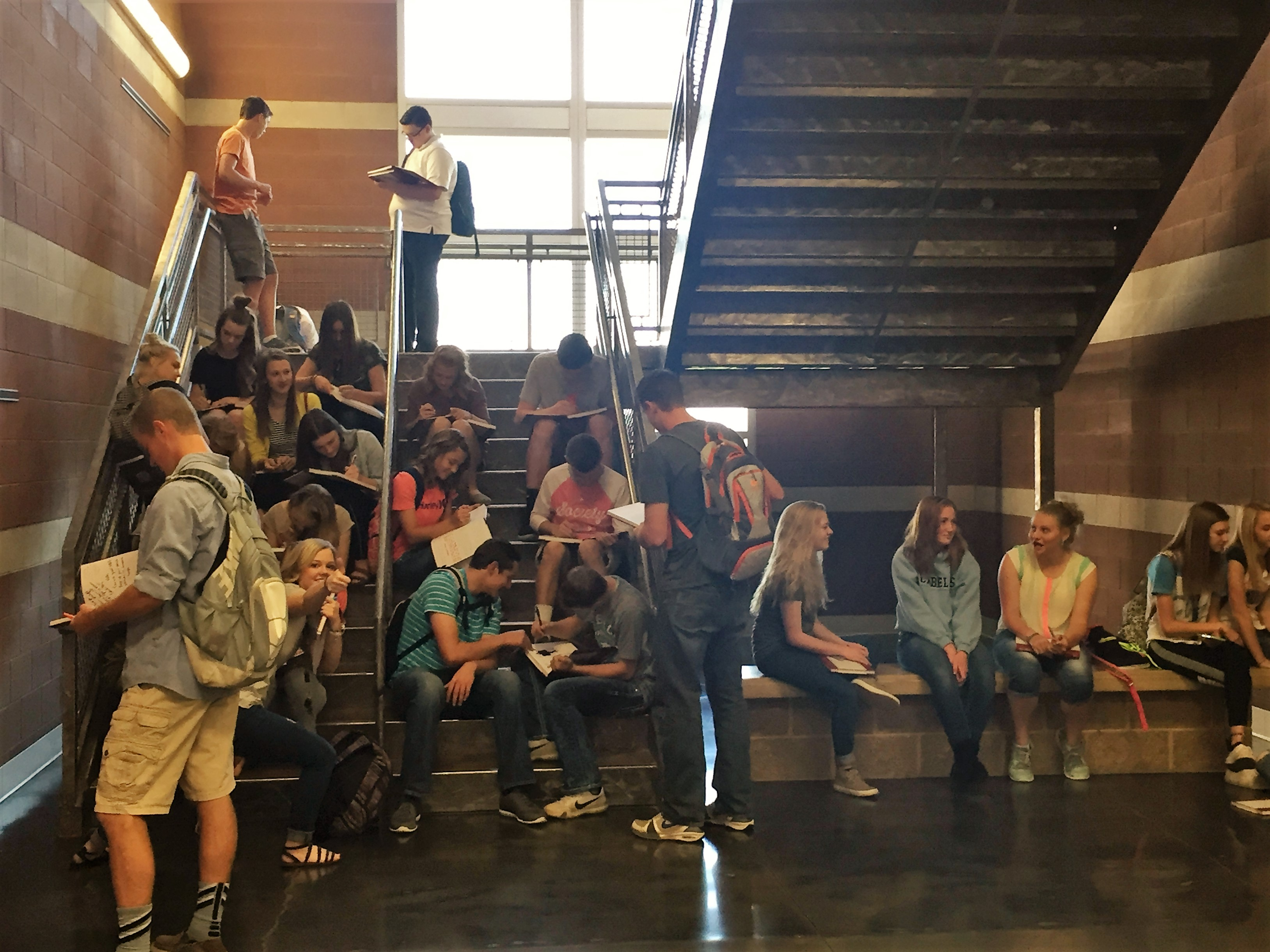 What happens on the last day of school when the seniors are gone? Sophomores and Juniors take over the stair case to sign yearbooks. So long to the class of 2016, here comes 2017!