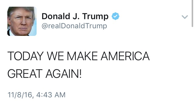 Donald Trumps tweet on the morning of the election