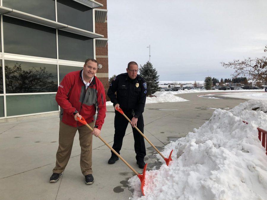 Mr.+Klassen+and+Bovie+keeping+the+sidewalks+clear+of+snow