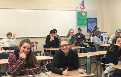 Seniors giving a big thumbs up in Personal Finance. Photo Credit: Emily Tracy.