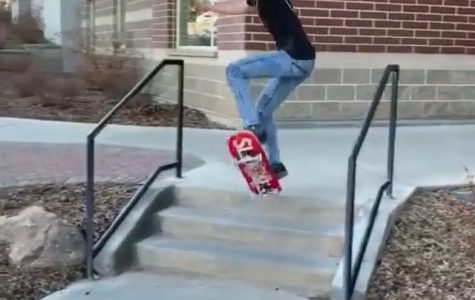 Saehim Kim doing an ollie off of 3 stairs.