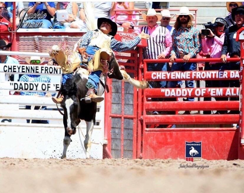 Schneiter+riding+at+The+Cheyanne+Rodeo.+