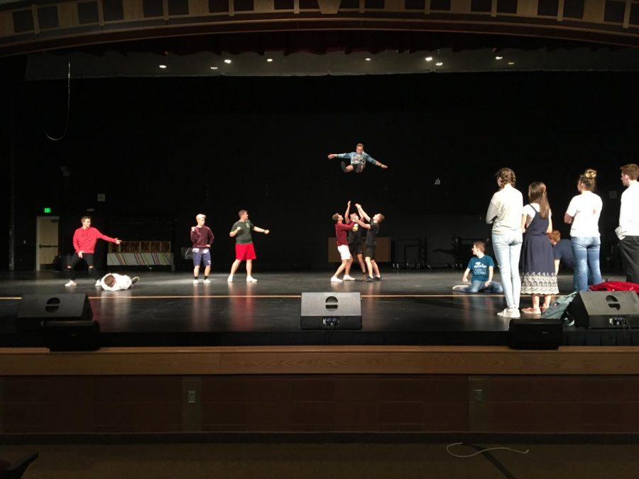 MHS senior guys practicing for Mr. Madison.