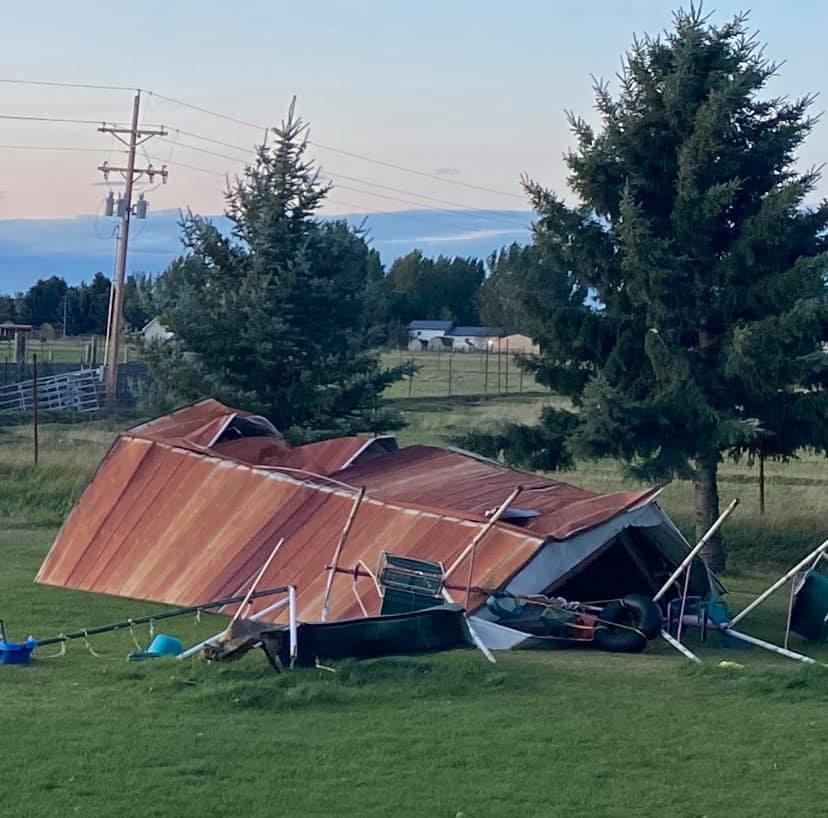 Another resident in Rexburg, Scott Carter posted a picture on Facebook of his shed and swing set destroyed in his backyard.