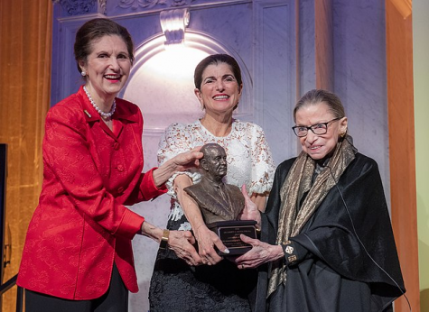 Ruth Bader Ginsburg (right) receiving the Liberty & Justice for All Award from Lynda Johnson Robb (left) and Luci Baines Johnson at the Library of Congress in Washington, 30 January 2020.