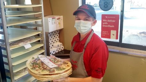 Eddie working at Papa Murphy