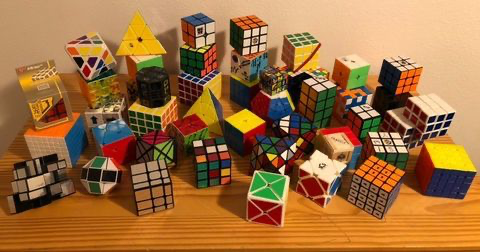 Dabell's collections of cubes and puzzles that will continue to grow