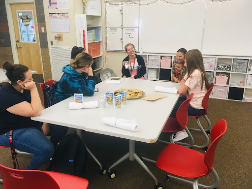 Students at an FCCLA meeting. They meet twice a month, every other Wednesday.