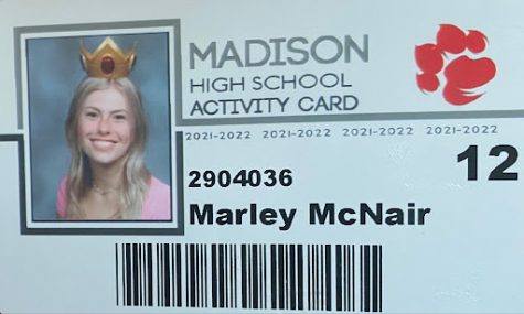 Senior Marley McNair's Student ID card. McNair and her friends dressed up as Mario, Luigi, Princess Peach, and Yoshi.